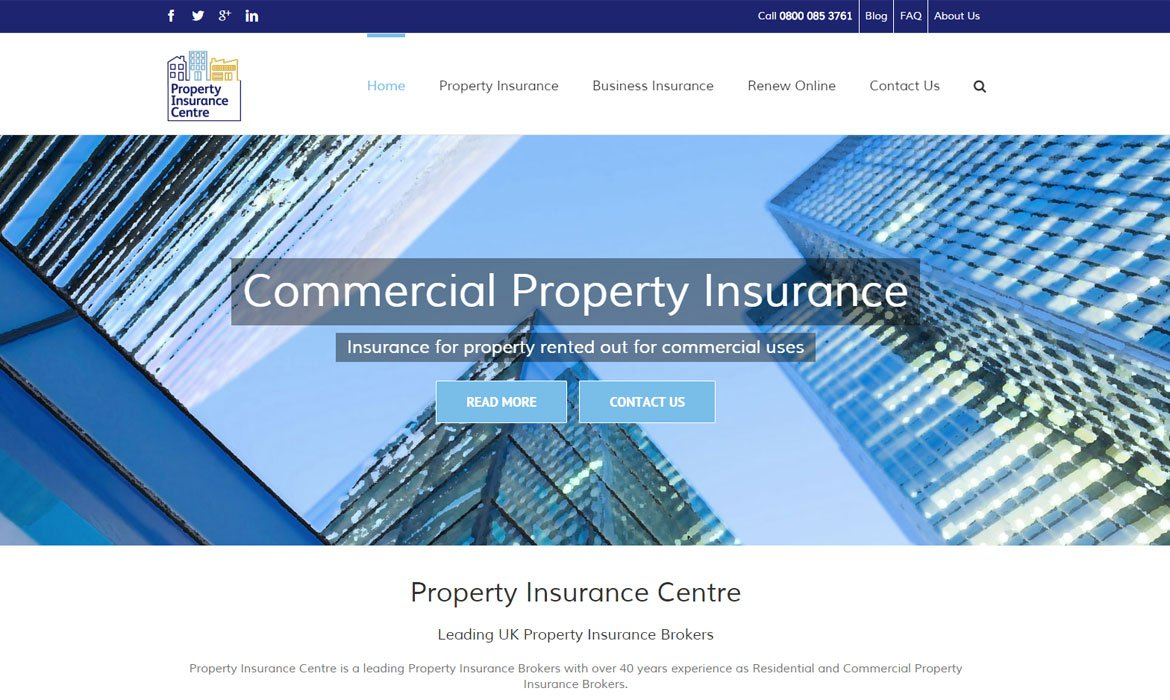 Insurance Broker Website Design For Property Insurance Centre