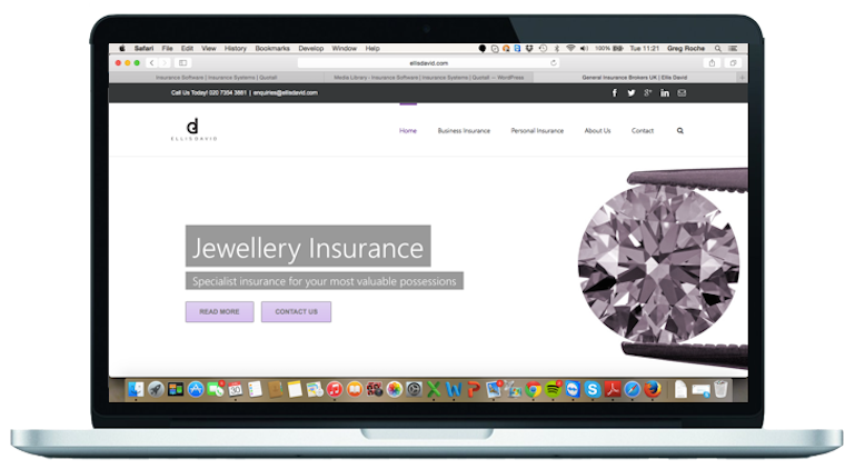 Insurance website design for Ellis David insurance brokers