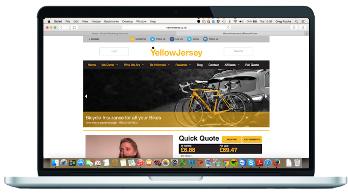 Insurance search engine optimisation for Yellow Jersey